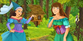 Cartoon scene with young princess traveling and encountering princess sorceress and hidden wooden house in the forest. Illustration for children vector illustration
