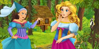 Cartoon scene with young princess traveling and encountering princess sorceress and hidden wooden house in the forest. Illustration for children royalty free illustration