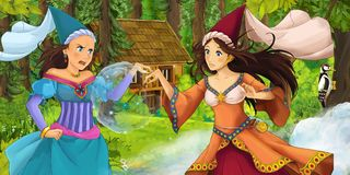 Cartoon scene with young royal witch princess traveling and encountering princess sorceress and hidden wooden house in the forest. Illustration for children royalty free illustration