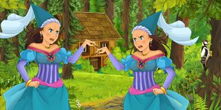 Cartoon scene with young royal witch princess traveling and encountering princess sorceress and hidden wooden house in the forest. Illustration for children stock illustration