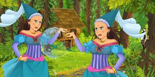Cartoon scene with young royal witch princess traveling and encountering princess sorceress and hidden wooden house in the forest. Illustration for children vector illustration