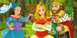 Cartoon scene with young royal woman and man traveling and encountering princess sorceress and hidden wooden house in the forest. Cartoon scene with young couple vector illustration