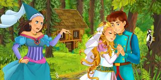 Cartoon scene with young royal woman and man traveling and encountering princess sorceress and hidden wooden house in the forest. Cartoon scene with young couple stock illustration