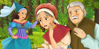 Cartoon scene with young woman and man traveling and encountering princess sorceress and hidden wooden house in the forest. Cartoon scene with young woman stock illustration