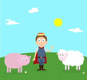 Cartoon scenery of nice spring day. Young prince with farm animals pink pig and sheep. Vector cartoon characters. Sunny day with white clouds Royalty Free Stock Photo