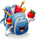 Cartoon school bag holding red apple Royalty Free Stock Photos