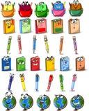Cartoon school bags, pencils, books vector Royalty Free Stock Photos