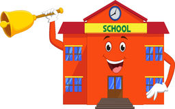 Cartoon school with bell in hand Royalty Free Stock Photos