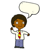 cartoon school boy answering question with speech bubble Stock Images