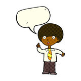 cartoon school boy answering question with speech bubble Royalty Free Stock Image