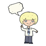 cartoon school boy answering question with speech bubble Royalty Free Stock Photography