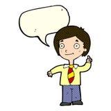 Cartoon school boy answering question with speech bubble stock illustration