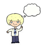 cartoon school boy answering question with thought bubble Royalty Free Stock Images