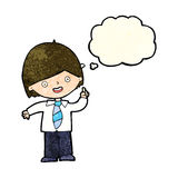 Cartoon school boy answering question with thought bubble vector illustration