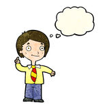 Cartoon school boy answering question with thought bubble stock illustration
