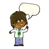 cartoon school boy with idea with speech bubble Stock Images