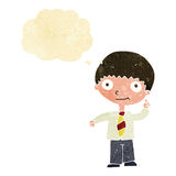 Cartoon school boy with idea with thought bubble Stock Images