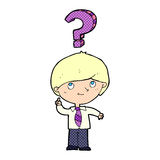 Cartoon school boy with question Stock Photo