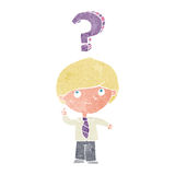 Cartoon school boy with question Stock Photography