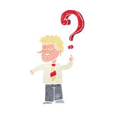 Cartoon school boy with question Royalty Free Stock Images
