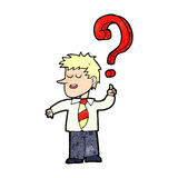 Cartoon school boy with question Stock Image