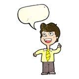 Cartoon school boy raising hand with speech bubble Royalty Free Stock Photography
