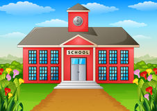 Cartoon school building with green yard. Illustration of Cartoon school building with green yard Stock Image