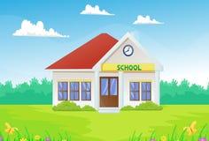 Cartoon school building with green yard Royalty Free Stock Photo