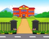 Cartoon school building with green yard Stock Photography
