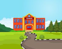 Cartoon school building. Illustration of Cartoon school building Royalty Free Stock Images