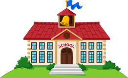 Cartoon school building isolated with green yard Royalty Free Stock Photography