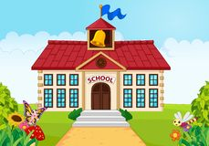Cartoon school building isolated with green yard Stock Images