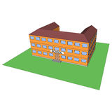 Cartoon school building. Vector Stock Image