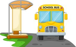 Cartoon school bus with bus stop. Isolated on white background vector illustration
