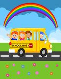 Cartoon School Bus With Happy Children Stock Image