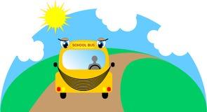Cartoon school bus on its way to school. Vector illustration Stock Image