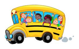 Free Cartoon School Bus With Happy Child Students Royalty Free Stock Photography - 126193077
