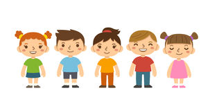 Cartoon school children. A group of cute cartoon preschool kids  on white background. Different facial expressions, hairstyles and clothes Stock Photo
