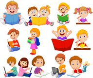 Cartoon school children reading book and operating computer collection set stock illustration
