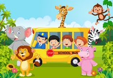 Cartoon school children on safari Stock Image
