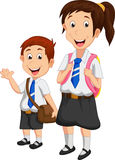 Cartoon school children royalty free illustration
