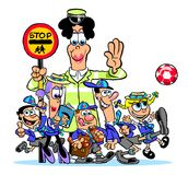 Cartoon school crossing Royalty Free Stock Photos