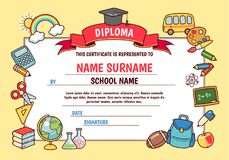 Cartoon school diploma. Diploma for elementary school. Cute template with frame of cartoon school objects and symbols on yellow background stock illustration