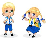 Cartoon school girl and boy wearing uniform with backpack on white background. Cute little school girl and boy wearing uniform with backpack isolated on white stock illustration