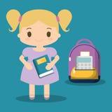 Cartoon school girl purple bag book blue background Royalty Free Stock Photo