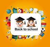 Cartoon school icons card. Vector,illustration Stock Images
