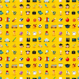Cartoon school icons seamless pattern royalty free illustration