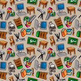 Cartoon school icons seamless pattern Royalty Free Stock Photo
