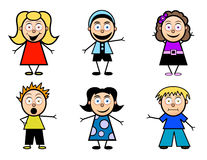 Cartoon School Kids. A variety of cartoon children in different clothing and hair styles Royalty Free Stock Images