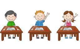 Cartoon school kids sitting on table Stock Photo